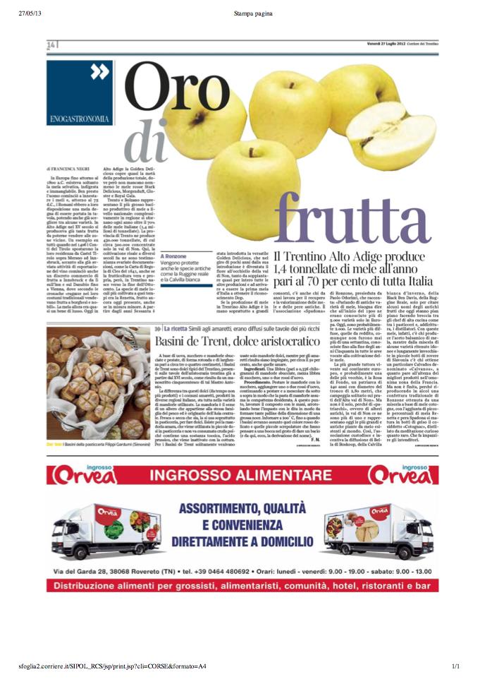 27 lug 2013 Oro di frutta