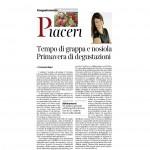 02 04 2016 Corriere del Trentino Tempo di grappa e nosiola Primavera di degustazioni