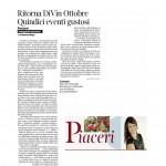 03:10:2015 Corriere del Trentino Ritorna DinVin Ottobre Quindici eventi gustosi