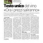 """05-12-2016 Corriere Imprese Trentino Alto Adige Testo unico del vino """"Ora i prezzi saliranno"""""""