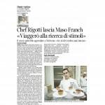 """07-04-2016 Corriere del Trentino Chef Rigotti lascia Maso Franch """"viaggerò alla ricerca di stimoli"""""""