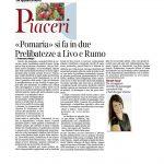 """08-10-2016 Corriere del Trentino e dell'Alto Adige """"Pomaria"""" si fa in due. Prelibatezze a Livo e Rumo"""