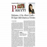 09 04 2016 Corriere del Trentino Bolzano c'è la Beer Craft Cigar club sbarca a Trento