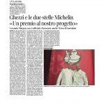 """16-11-2016 Corriere del Trentino Ghezzi e le due stelle Michelin """"Un premio al nostro progetto"""""""