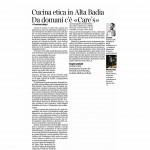 16-01-2016 Corriere del Trentino Cucina etica in Alta Badia Da domani c'èCare's