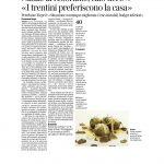 """17-12-2016 Corriere del Trentino e dell'Alto Adige Natale al ristorante calo del 5% """" I trentini preferiscono la casa"""""""