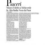 18-02-2017 Corriere del Trentino e dell'Alto Adige Museo Foletto a Melaverde In Alta Badia Noza da Paur