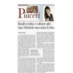 18-04-2015 Corriere del Trentino e Corriere dell'Alto Adige Biodiversita e culture alte San Michele racconta il cibo