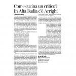 18 07 2015 Corriere del Trentino Come cucina un critico? In Alta Badia c'è Arrighi