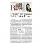 19 09 2015 Corriere dell'Alto Adige Trentino Volley in cucina Parte il Festival del vino