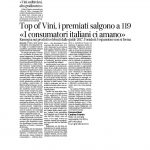 """19-11-2016 Corriere dell'Alto Adige Top of vini, i premiati salgono a 119 . """"I consumatori italiani ci amano"""""""