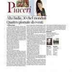 21-01-2017 Corriere del Trentino e dell'Alto Adige Alta Badia 30 chef mondiali Quattro giorni di eventi