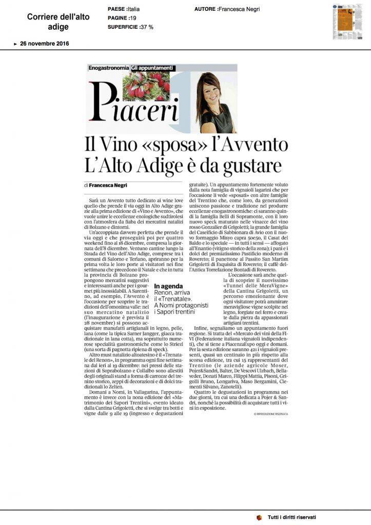 """26-11-2016 Corriere del Trentino e dell'Alto Adige Il Vino """"sposa"""" l'Avvento l'Alto Adige è da gustare"""