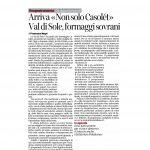 """27-08-2016 Corriere del Trentino Arriva """"Non solo Casolét"""" Val di Sole, formaggi sovrani"""