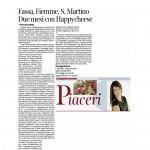 30-01-2016 Corriere del Trentino Fassa Fiemme S. Martino Due mesi con Happycheese