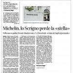 """Corriere del Trentino 05 novembre 2014 Michelin, lo Scrigno perde la """"stella"""""""