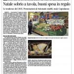 Corriere del Trentino 20 dicembre 2013 Natale sobrio a tavola, buoni spesa in regalo