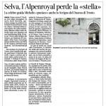 Corriere dell'Alto Adige 05 dicembre 2014 Selva, l'Alpenroyal perde la « stella
