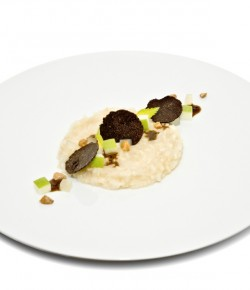 Heinz Beck | Sedano rapa con salsa al tartufo, nocciole  caramellate e gelatina di mele